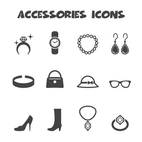símbolo de ícones de acessórios vetor