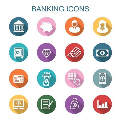 ícones de sombra longa bancário vetor