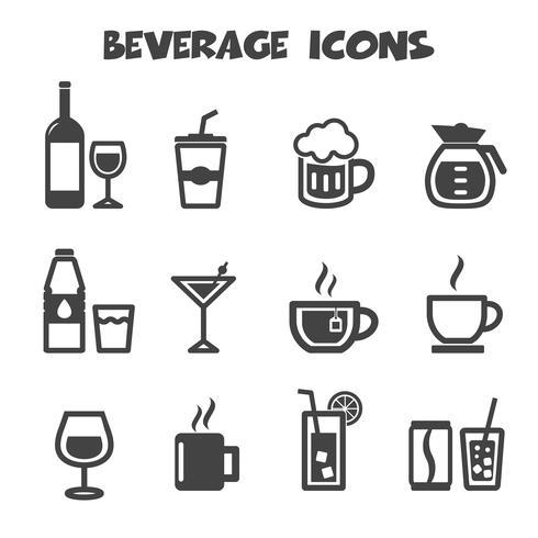 símbolo de ícones de bebidas vetor