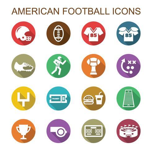 ícones de sombra longa de futebol americano vetor