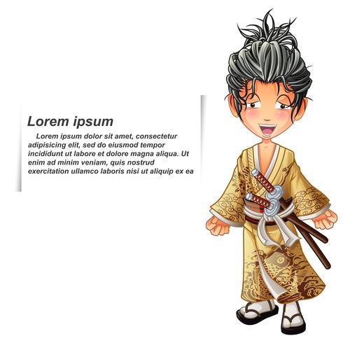 Samurai isolado vetor no estilo dos desenhos animados.