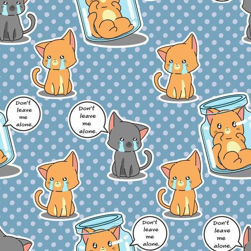 Gatos sem costura são padrão triste. vetor