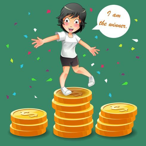 Mulher é o vencedor com moedas vetor