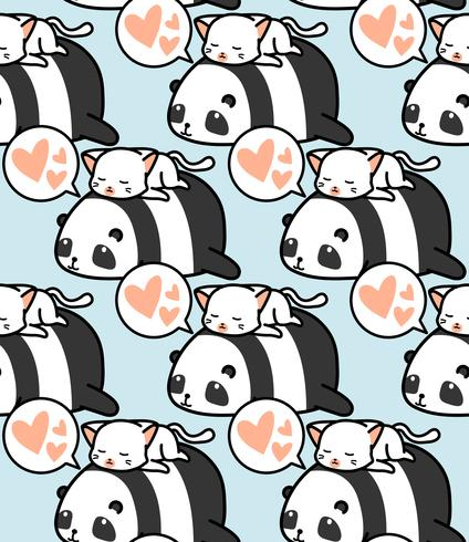 Padrão sem emenda de panda e gato. vetor