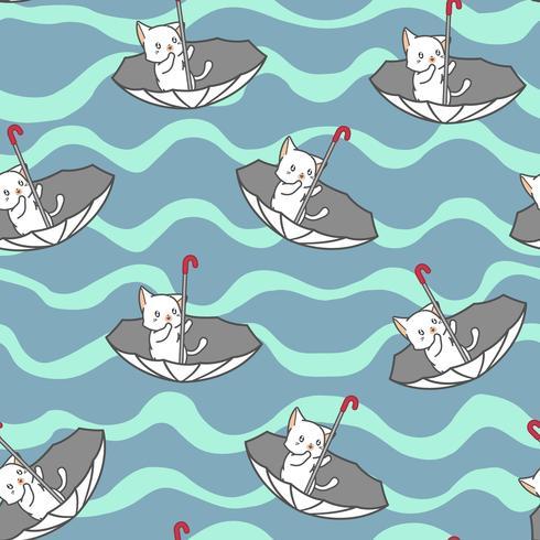 Gato branco pequeno sem emenda no teste padrão do guarda-chuva. vetor