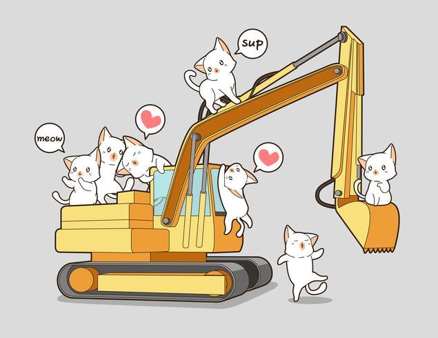 Gatos bonitos e o trator. vetor