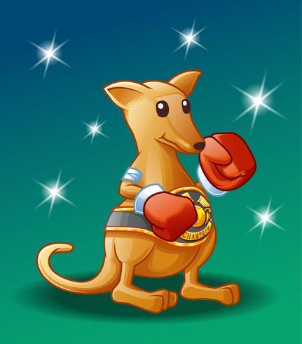 Caráter do canguru do campeão no estilo dos desenhos animados. vetor