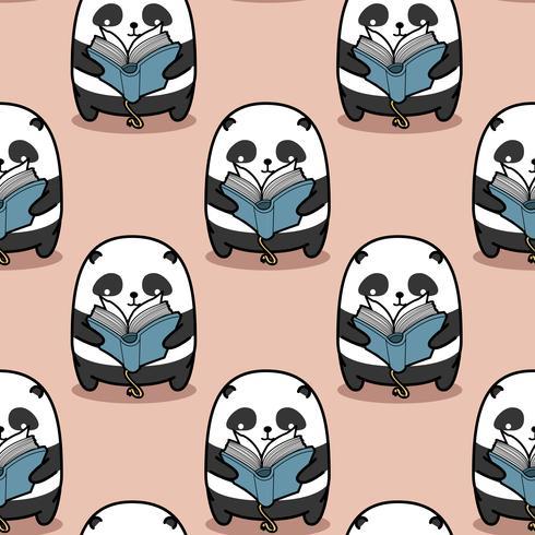 O panda sem emenda está lendo o teste padrão do livro. vetor