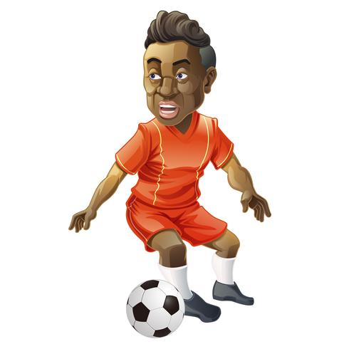 Jogador de futebol no estilo cartoon. vetor