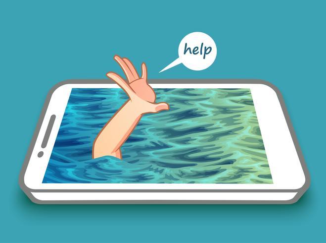 Nenhum conceito de fobia de telefone celular. vetor