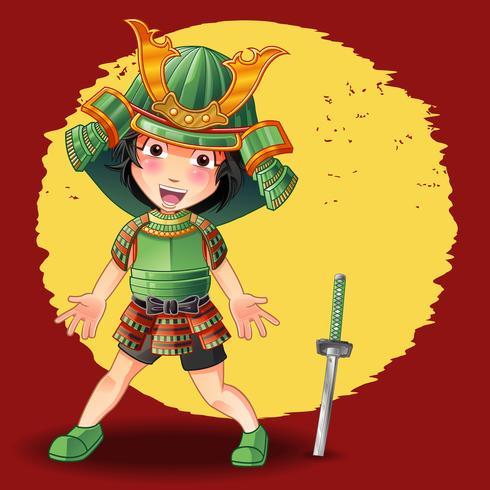 Personagem de samurai em estilo cartoon. vetor