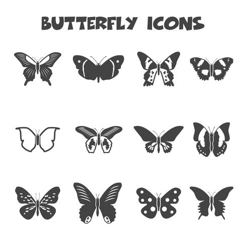 símbolo de ícones de borboleta vetor
