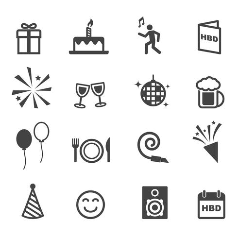 ícones de festa de aniversário vetor
