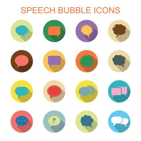 ícones de sombra longa de bolha do discurso colorido vetor