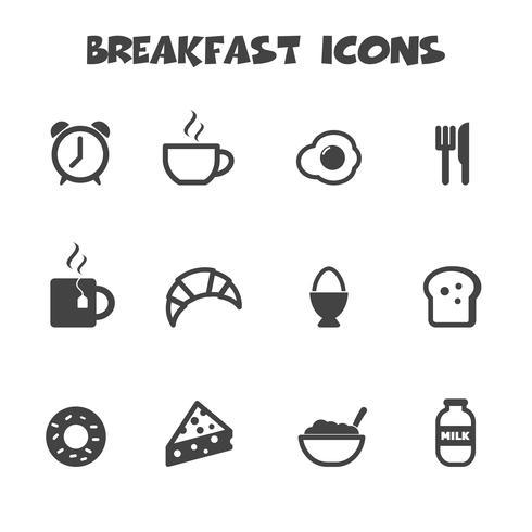 símbolo de ícones de café da manhã vetor