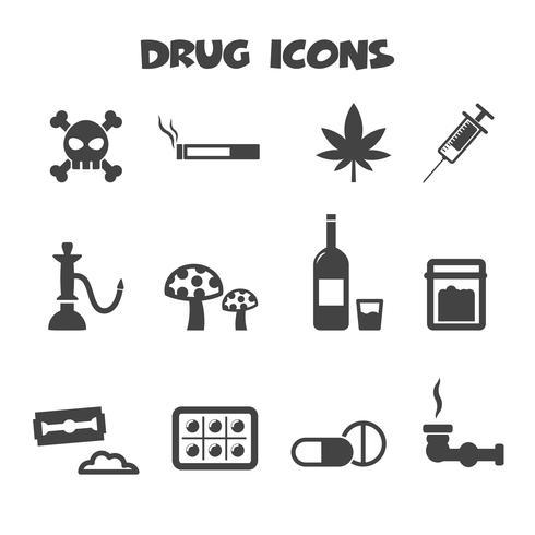 símbolo de ícones de droga vetor