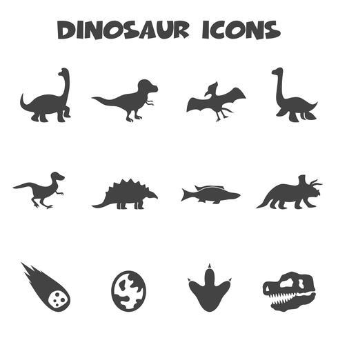 símbolo de ícones de dinossauro vetor