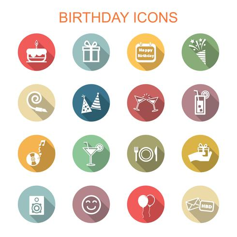 ícones de longa sombra de aniversário vetor