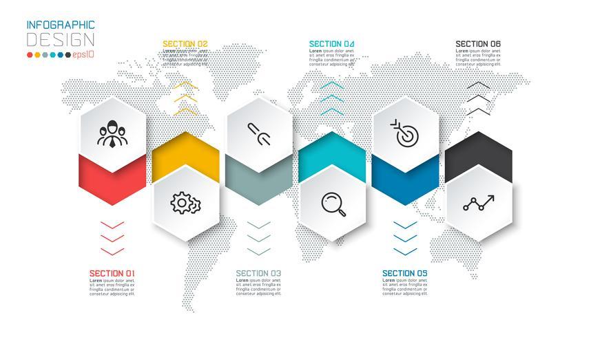 Negócios hexágono rótulos forma infográfico grupos bar. vetor