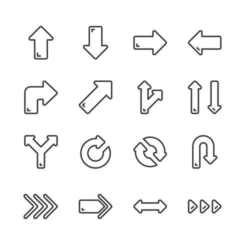 Conjunto de ícones de setas. Ilustração vetorial vetor
