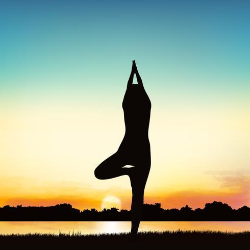 Imagem da silhueta da senhora na postura da ioga. vetor