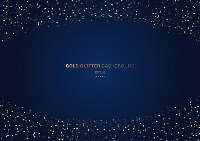 Círculos de glitter dourados festivo na obscuridade - fundo azul com espaço para seu texto. vetor