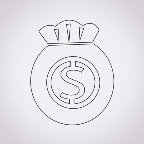 Dinheiro, símbolo, sinal símbolo vetor