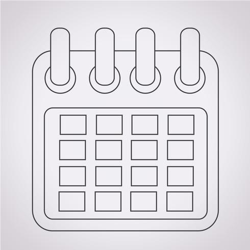 Sinal de símbolo de ícone de calendário vetor