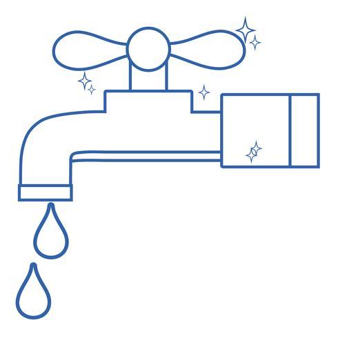 torneira de metal limpa linha com gotas de água vetor
