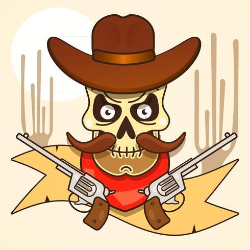 Bandido de caveira de oeste selvagem com vetor de pistolas