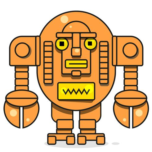 Ícone de bot. Conceito de ícone Chatbot. Robô De Sorriso Bonito. Vector linha moderna personagem ilustração isolado no fundo branco. Design de sinal de robô de contorno.