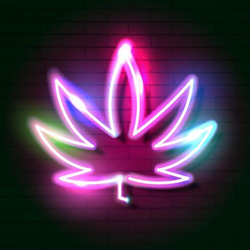 Sinal de néon de incandescência médico da folha do logotipo do cannabis. vetor