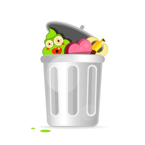 Projeto liso moderno do personagem de banda desenhada da reciclagem. Ilustração vetorial vetor