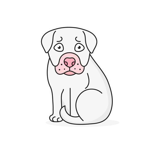 Filhote de cachorro feliz dos desenhos animados que senta-se, retrato do cão pequeno bonito. Amigo do cão. Ilustração vetorial. Isolado. vetor