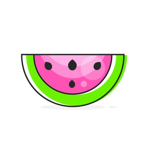 Melancia de fatia de vetor. Ilustração De Frutas Para Farm Market Menu. Comida saudável vetor
