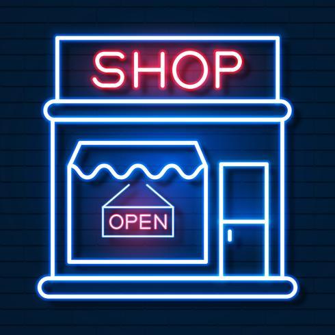 Compre agora Sinal de néon. Pronto para seu projeto, cartão, Banner. Vetor