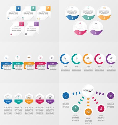 Conjunto de modelo de elemento de infográficos com opções. vetor