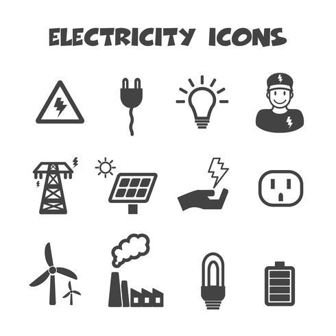 símbolo de ícones de electricidade vetor