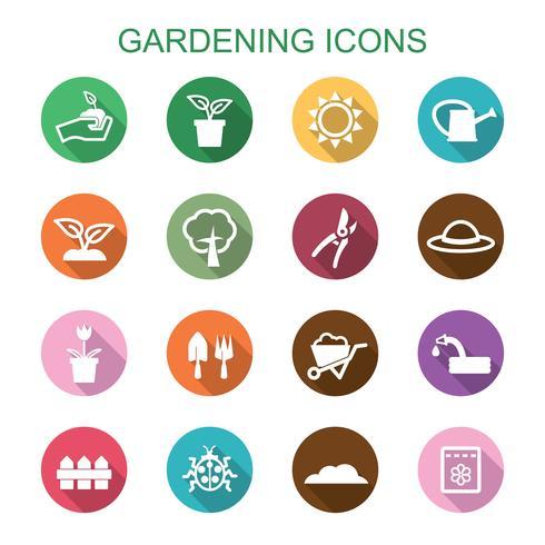 jardinagem ícones de sombra longa vetor