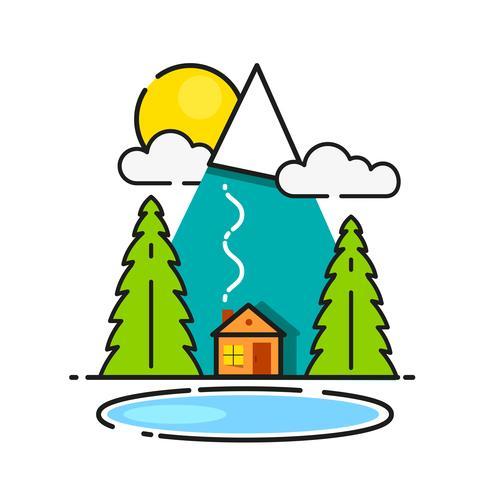Cabana de madeira no ícone do vetor de madeiras pronto para seu projeto, cartão de saudação