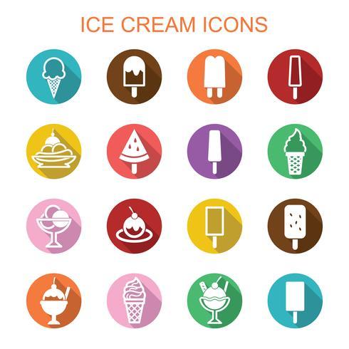 ícones de longa sombra de sorvete vetor