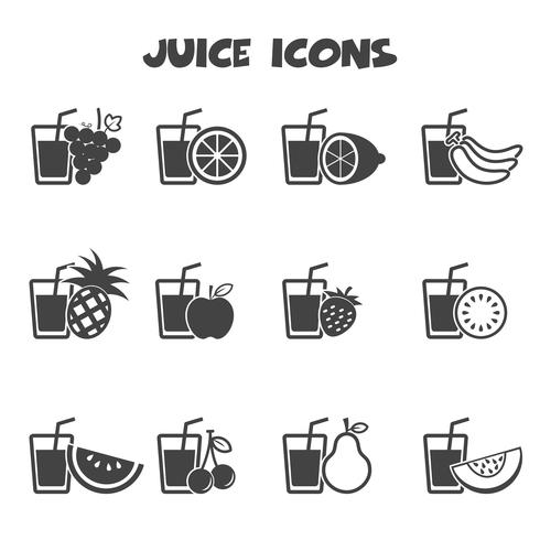 símbolo de ícones de suco vetor