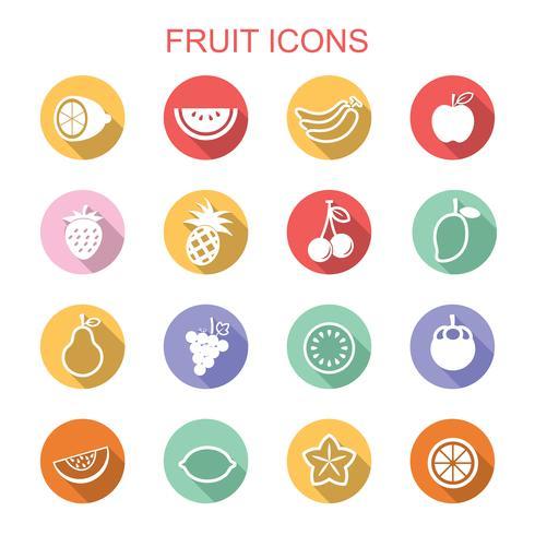 ícones de sombra longa de fruta vetor