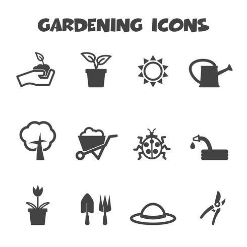 símbolo de ícones de jardinagem vetor