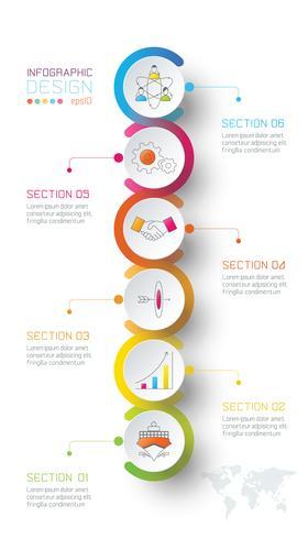Círculo de negócios rótulos forma infográfico ao redor do mapa do mundo. vetor