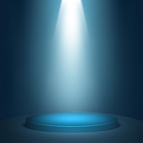 Fundo redondo azul do pódio do vencedor. Palco com luzes de estúdio para cerimônia de premiação. holofotes iluminam. Ilustração vetorial vetor