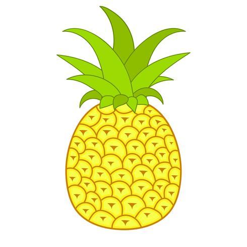 Frutas De Verão Para O Estilo De Vida Saudável. Fruta De Abacaxi. Vector Illustration Cartoon ícone plana isolado