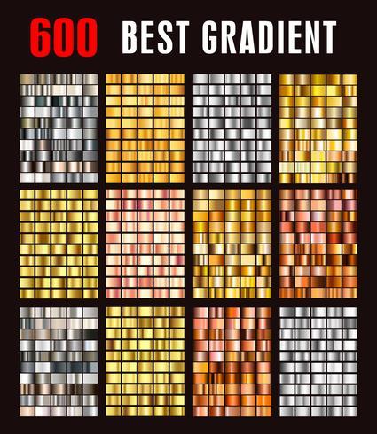 gradientes metálicos coloridos da coleção grande. vetor