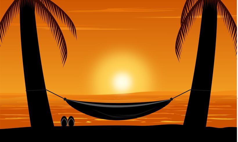 Silhueta da palmeira e da rede na praia sob o fundo do céu do por do sol. Projeto, verão, vetorial, ilustração vetor