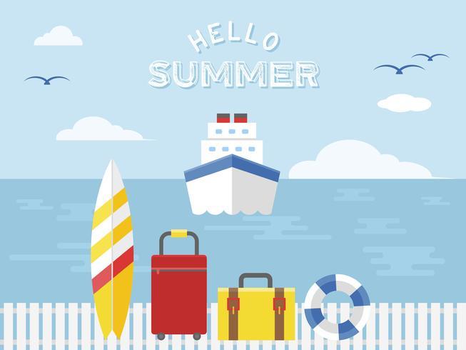 Férias de verão, ilustração em vetor viagens navio de cruzeiro